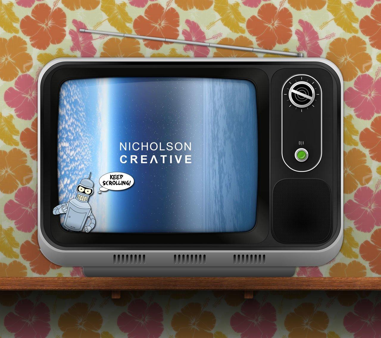 A TV illustrated for a portfolio site © NICHOLSON CREATIVE
