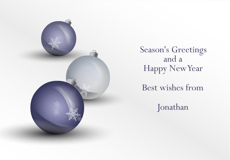 Animated Christmas card with snow falling inside the baubles © NICHOLSON CREATIVE